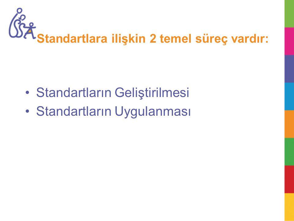 Standartlara ilişkin 2 temel süreç vardır: Standartların Geliştirilmesi Standartların Uygulanması