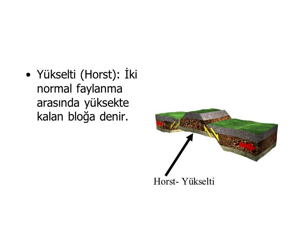 Yükselti (Horst): İki normal faylanma arasında yüksekte kalan bloğa denir. Horst- Yükselti