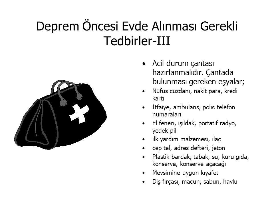Deprem Öncesi Evde Alınması Gerekli Tedbirler-III Acil durum çantası hazırlanmalıdır. Çantada bulunması gereken eşyalar; Nüfus cüzdanı, nakit para, kr
