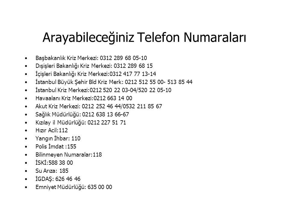 Arayabileceğiniz Telefon Numaraları Başbakanlık Kriz Merkezi: 0312 289 68 05-10 Dışişleri Bakanlığı Kriz Merkezi: 0312 289 68 15 İçişleri Bakanlığı Kr