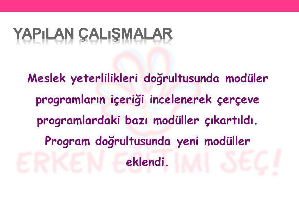 Meslek yeterlilikleri doğrultusunda modüler programların içeriği incelenerek çerçeve programlardaki bazı modüller çıkartıldı. Program doğrultusunda ye