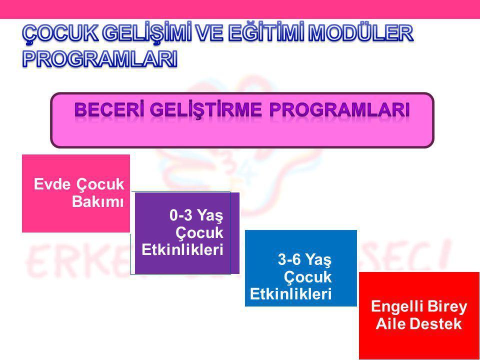 0-3 Yaş Çocuk Etkinlikleri 3-6 Yaş Çocuk Etkinlikleri Evde Çocuk Bakımı Engelli Birey Aile Destek