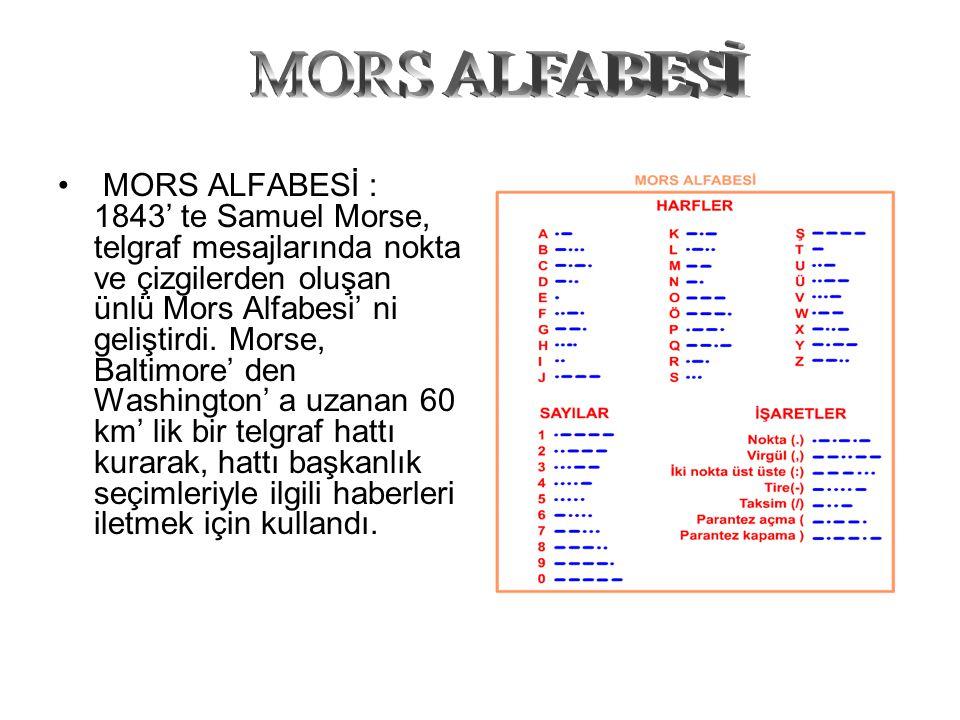 MORS ALFABESİ : 1843' te Samuel Morse, telgraf mesajlarında nokta ve çizgilerden oluşan ünlü Mors Alfabesi' ni geliştirdi. Morse, Baltimore' den Washi