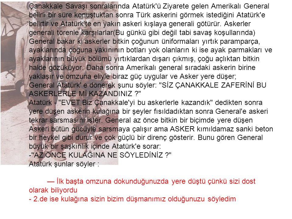 Çanakkale Savaşı sonralarında Atatürk'ü Ziyarete gelen Amerikalı General belirli bir süre konuştuktan sonra Türk askerini görmek istediğini Atatürk'e
