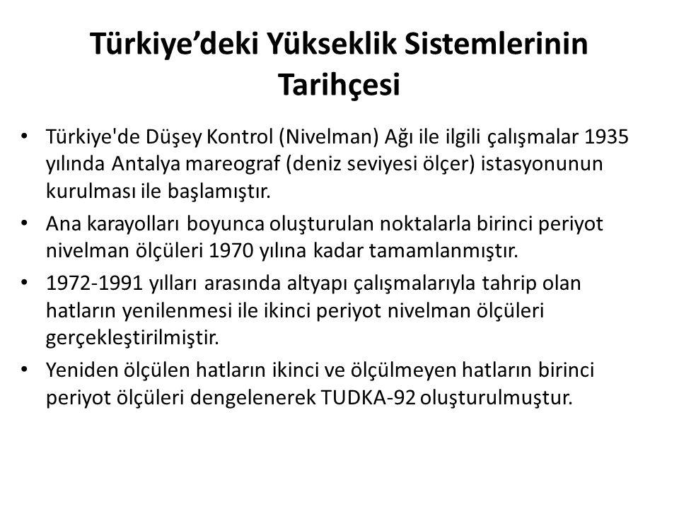 Türkiye'deki Yükseklik Sistemlerinin Tarihçesi Türkiye'de Düşey Kontrol (Nivelman) Ağı ile ilgili çalışmalar 1935 yılında Antalya mareograf (deniz sev