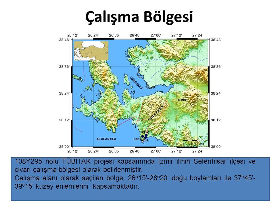 Çalışma Bölgesi 108Y295 nolu TÜBİTAK projesi kapsamında İzmir ilinin Seferihisar ilçesi ve civarı çalışma bölgesi olarak belirlenmiştir. Çalışma alanı