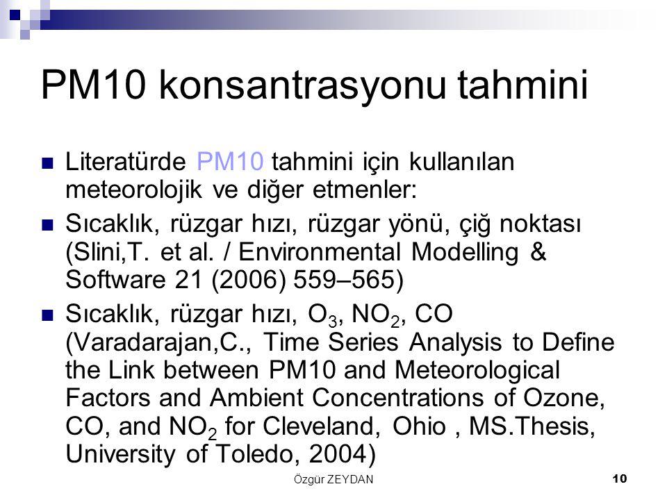 Özgür ZEYDAN10 PM10 konsantrasyonu tahmini Literatürde PM10 tahmini için kullanılan meteorolojik ve diğer etmenler: Sıcaklık, rüzgar hızı, rüzgar yönü, çiğ noktası (Slini,T.