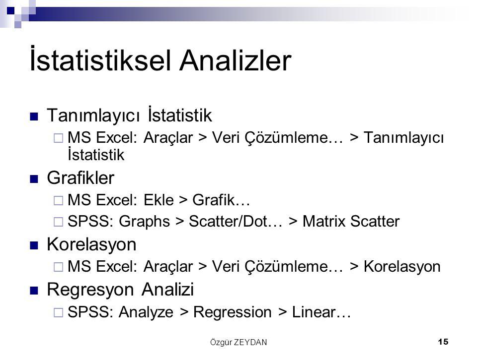 Özgür ZEYDAN15 İstatistiksel Analizler Tanımlayıcı İstatistik  MS Excel: Araçlar > Veri Çözümleme… > Tanımlayıcı İstatistik Grafikler  MS Excel: Ekle > Grafik…  SPSS: Graphs > Scatter/Dot… > Matrix Scatter Korelasyon  MS Excel: Araçlar > Veri Çözümleme… > Korelasyon Regresyon Analizi  SPSS: Analyze > Regression > Linear…