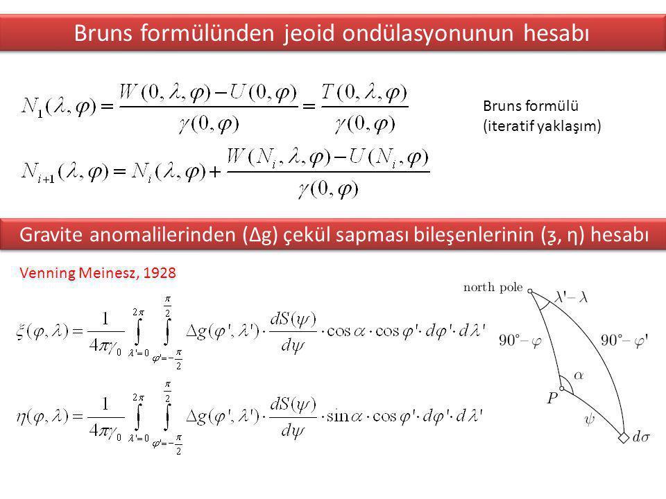 Bruns formülü (iteratif yaklaşım) Bruns formülünden jeoid ondülasyonunun hesabı Venning Meinesz, 1928 Gravite anomalilerinden (∆g) çekül sapması bileşenlerinin (ƺ, ƞ) hesabı