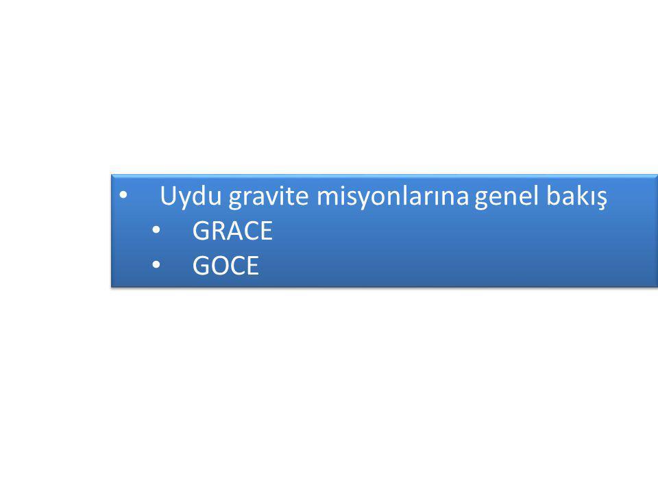 Uydu gravite misyonlarına genel bakış GRACE GOCE Uydu gravite misyonlarına genel bakış GRACE GOCE