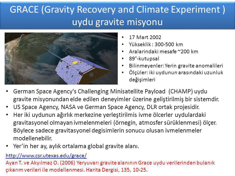 GRACE (Gravity Recovery and Climate Experiment ) uydu gravite misyonu http://www.csr.utexas.edu/grace/ Ayan T.