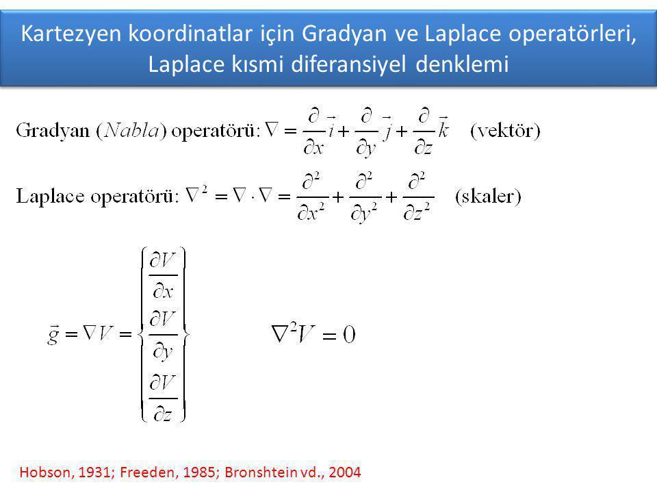 Kartezyen koordinatlar için Gradyan ve Laplace operatörleri, Laplace kısmi diferansiyel denklemi Hobson, 1931; Freeden, 1985; Bronshtein vd., 2004