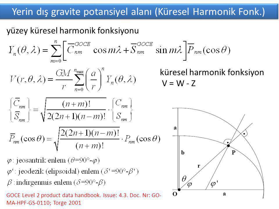 Yerin dış gravite potansiyel alanı (Küresel Harmonik Fonk.) GOCE Level 2 product data handbook.