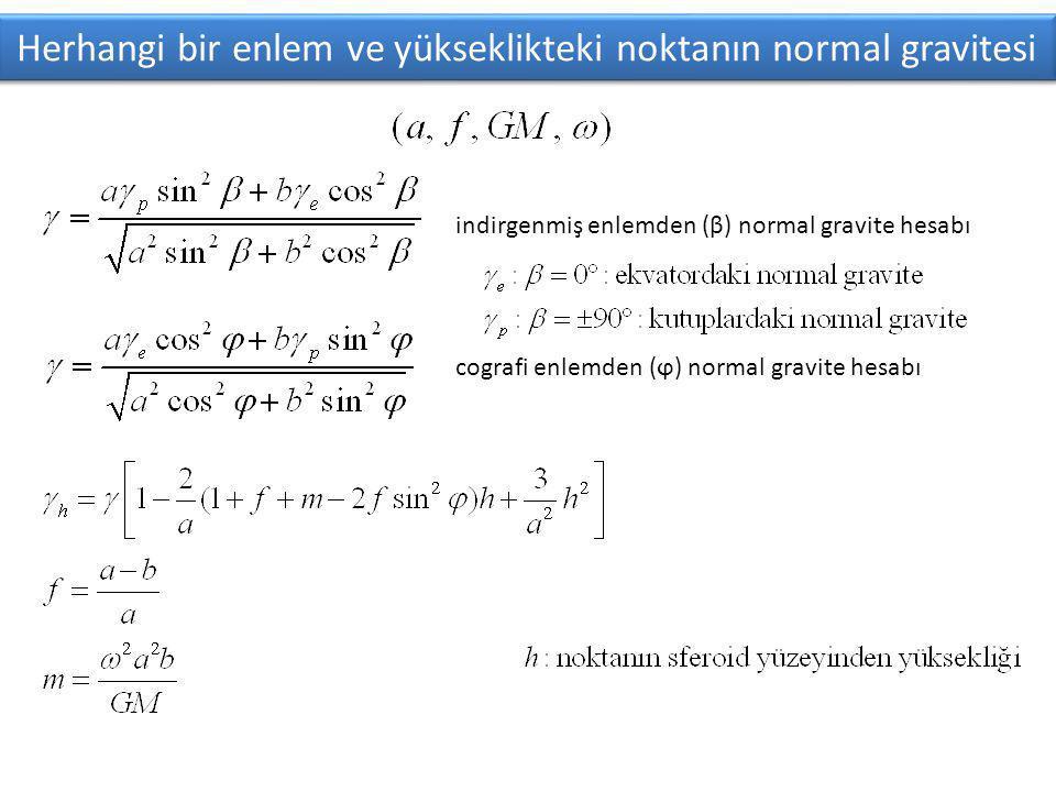 Herhangi bir enlem ve yükseklikteki noktanın normal gravitesi indirgenmiş enlemden (β) normal gravite hesabı cografi enlemden (ϕ) normal gravite hesabı