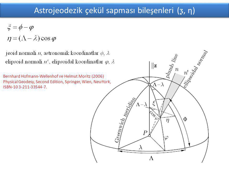 Astrojeodezik çekül sapması bileşenleri (ƺ, ƞ) Bernhard Hofmann-Wellenhof ve Helmut Moritz (2006) Physical Geodesy, Second Edition, Springer, Wien, NewYork, ISBN-10 3-211-33544-7.