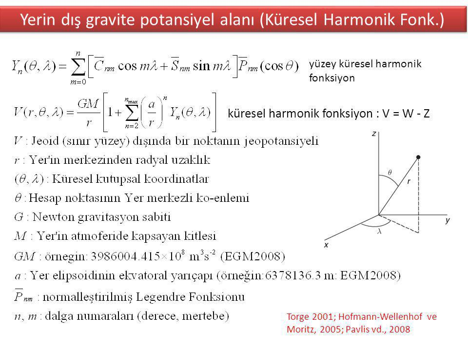 Yerin dış gravite potansiyel alanı (Küresel Harmonik Fonk.) Torge 2001; Hofmann-Wellenhof ve Moritz, 2005; Pavlis vd., 2008 yüzey küresel harmonik fonksiyon küresel harmonik fonksiyon : V = W - Z