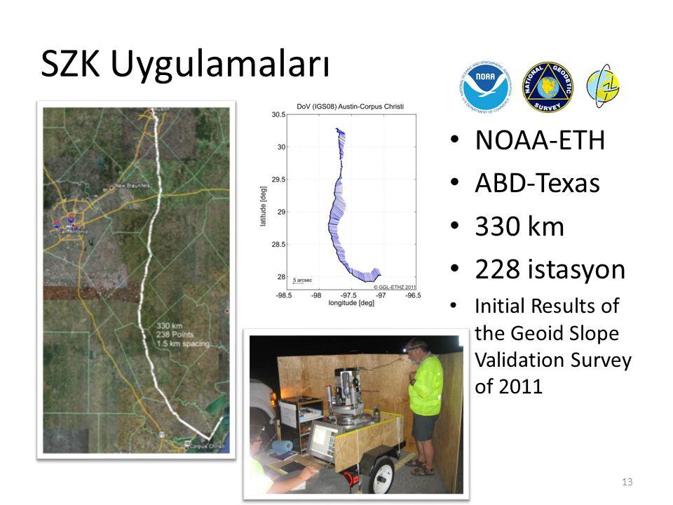 SZK Uygulamaları NOAA-ETH ABD-Texas 330 km 228 istasyon Initial Results of the Geoid Slope Validation Survey of 2011 TUJK 2012 | TUYS'nin Modernizasyo