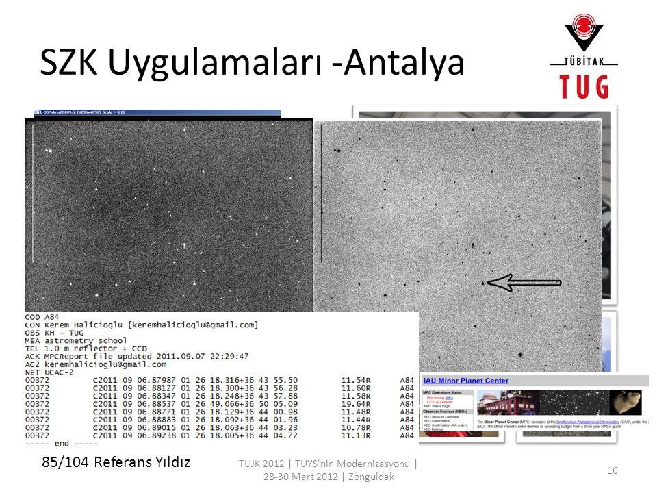 SZK Uygulamaları -Antalya TUJK 2012 | TUYS'nin Modernizasyonu | 28-30 Mart 2012 | Zonguldak 16 85/104 Referans Yıldız