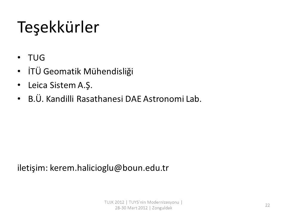 Teşekkürler TUG İTÜ Geomatik Mühendisliği Leica Sistem A.Ş. B.Ü. Kandilli Rasathanesi DAE Astronomi Lab. iletişim: kerem.halicioglu@boun.edu.tr TUJK 2