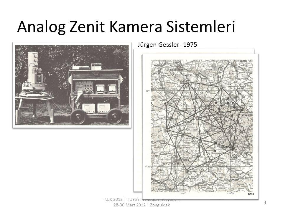 Analog Zenit Kamera Sistemleri TUJK 2012   TUYS nin Modernizasyonu   28-30 Mart 2012   Zonguldak 5 Gessler -1975 1985-2000 TZK1-TZK2 (Almanya - Hannover) TZK3 (İsviçre -ETH Zürih) 433istasyon 0,3 -0,5 Hirt -2000 Bürki -1986