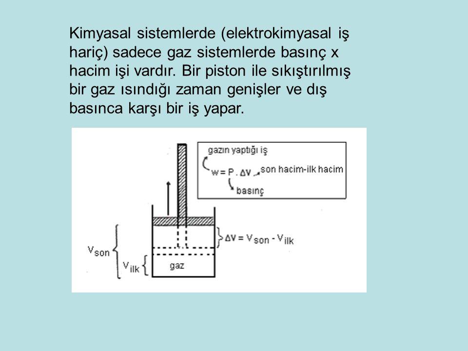 Kimyasal sistemlerde (elektrokimyasal iş hariç) sadece gaz sistemlerde basınç x hacim işi vardır. Bir piston ile sıkıştırılmış bir gaz ısındığı zaman