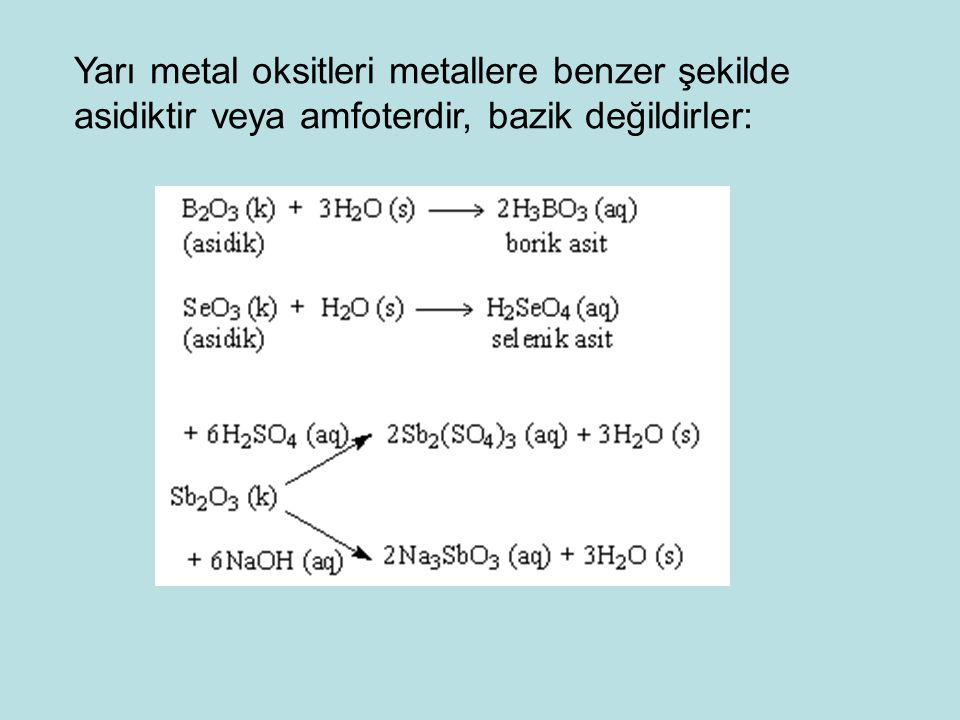 Yarı metal oksitleri metallere benzer şekilde asidiktir veya amfoterdir, bazik değildirler: