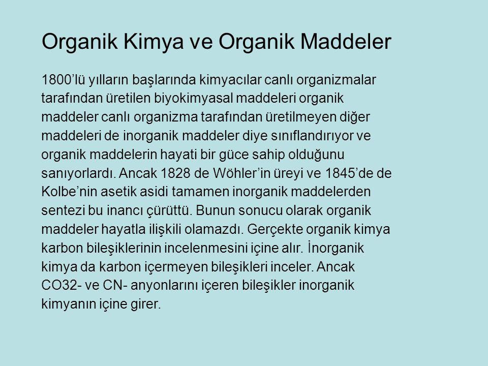1800'lü yılların başlarında kimyacılar canlı organizmalar tarafından üretilen biyokimyasal maddeleri organik maddeler canlı organizma tarafından üreti