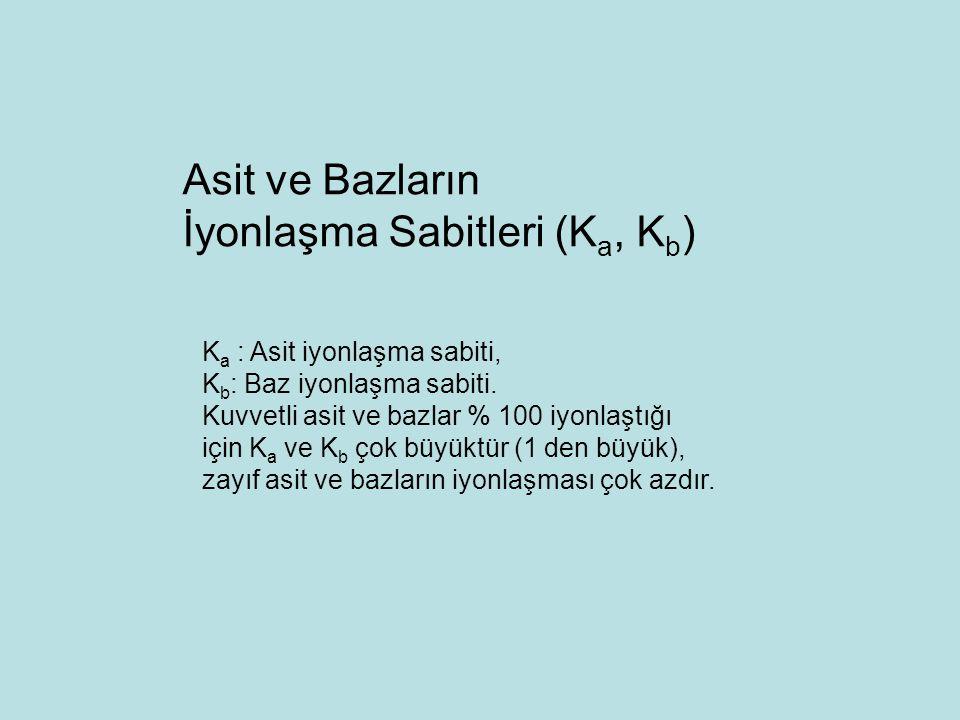 K a : Asit iyonlaşma sabiti, K b : Baz iyonlaşma sabiti. Kuvvetli asit ve bazlar % 100 iyonlaştığı için K a ve K b çok büyüktür (1 den büyük), zayıf a