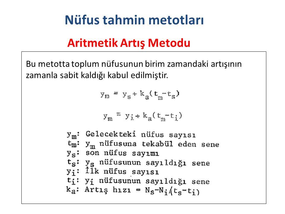 Aritmetik Artış Metodu Nüfus tahmin metotları Bu metotta toplum nüfusunun birim zamandaki artışının zamanla sabit kaldığı kabul edilmiştir.