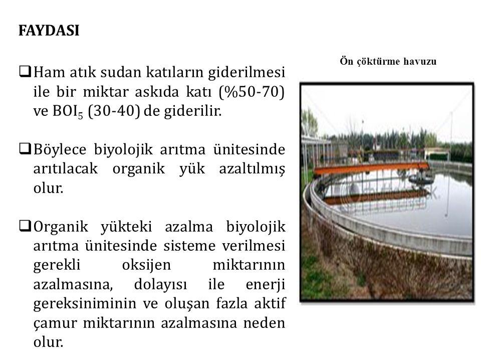 FAYDASI  Ham atık sudan katıların giderilmesi ile bir miktar askıda katı (%50-70) ve BOI 5 (30-40) de giderilir.  Böylece biyolojik arıtma ünitesind