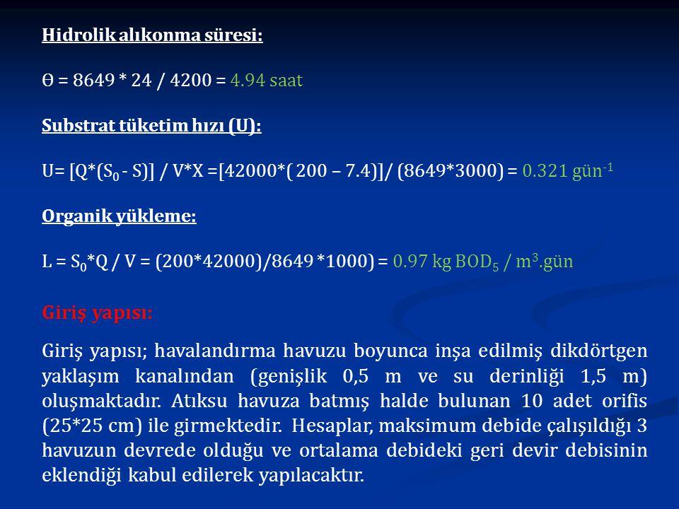 Hidrolik alıkonma süresi: Ɵ = 8649 * 24 / 4200 = 4.94 saat Substrat tüketim hızı (U): U= [Q*(S 0 - S)] / V*X =[42000*( 200 – 7.4)]/ (8649*3000) = 0.32