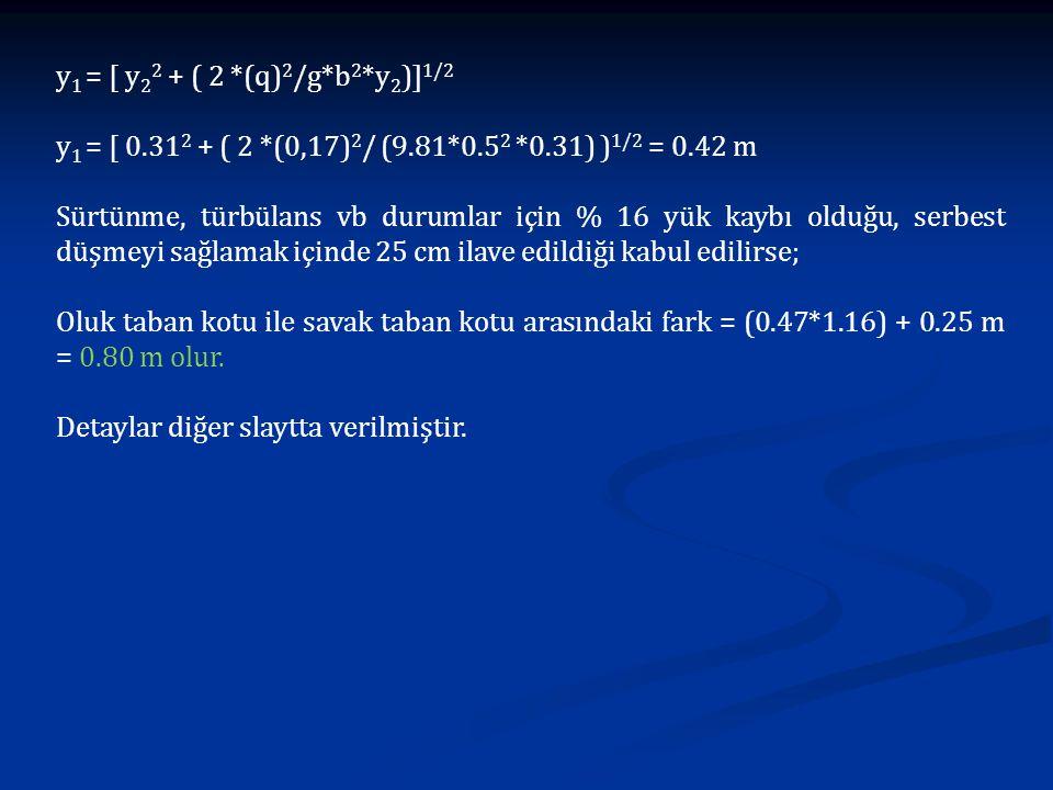 y 1 = [ y 2 2 + ( 2 *(q) 2 /g*b 2 *y 2 )] 1/2 y 1 = [ 0.31 2 + ( 2 *(0,17) 2 / (9.81*0.5 2 *0.31) ) 1/2 = 0.42 m Sürtünme, türbülans vb durumlar için