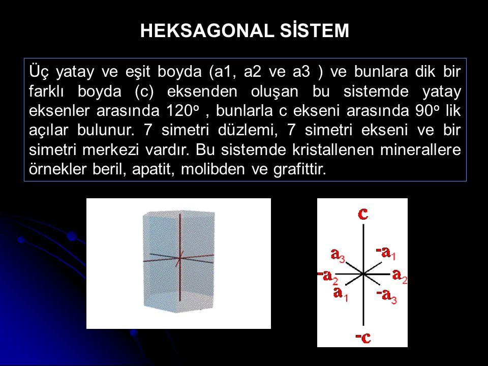 Üç yatay ve eşit boyda (a1, a2 ve a3 ) ve bunlara dik bir farklı boyda (c) eksenden oluşan bu sistemde yatay eksenler arasında 120 o, bunlarla c eksen