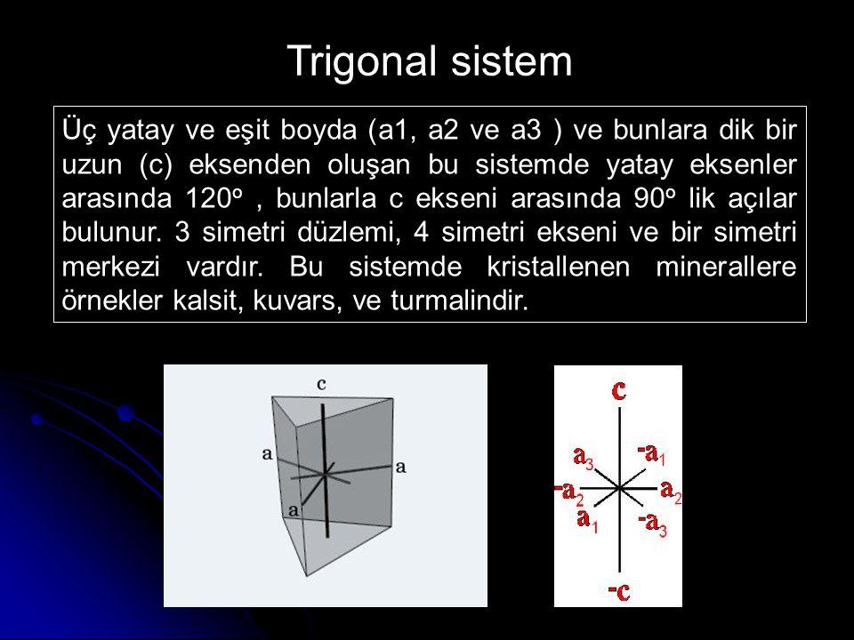 Üç yatay ve eşit boyda (a1, a2 ve a3 ) ve bunlara dik bir uzun (c) eksenden oluşan bu sistemde yatay eksenler arasında 120 o, bunlarla c ekseni arasın