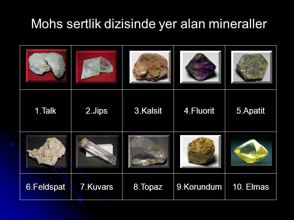 1.Talk2.Jips3.Kalsit4.Fluorit5.Apatit 6.Feldspat7.Kuvars8.Topaz9.Korundum10. Elmas Mohs sertlik dizisinde yer alan mineraller