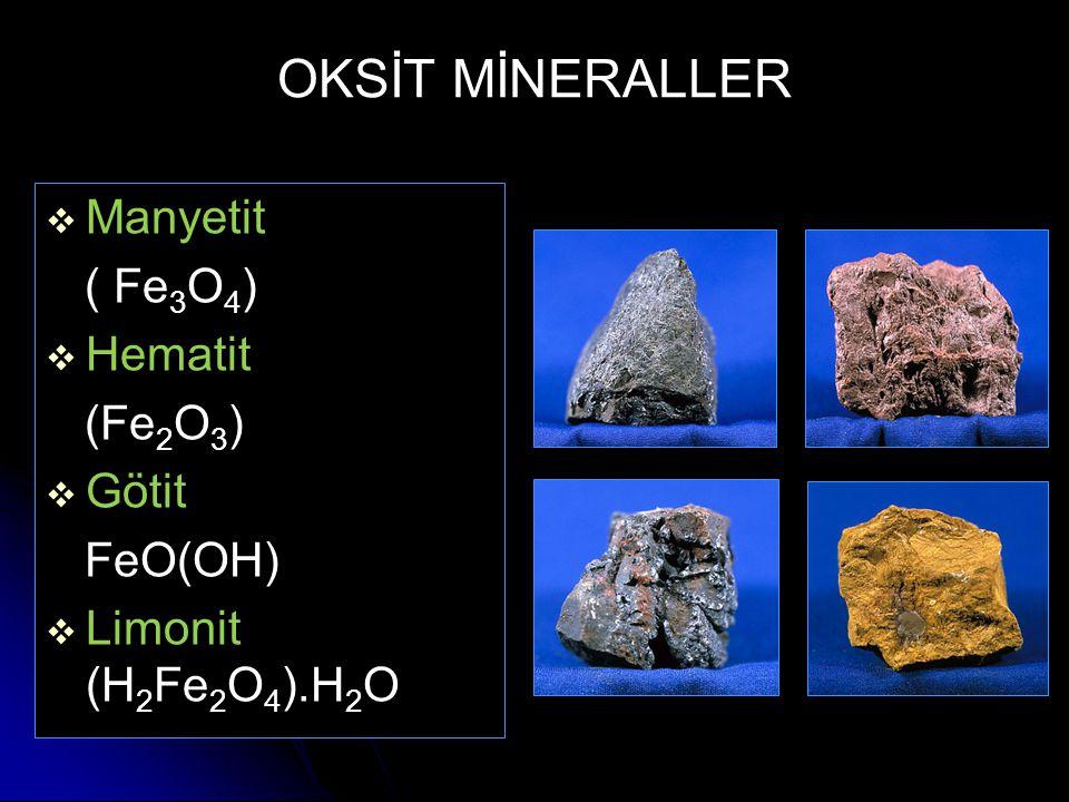 OKSİT MİNERALLER   Manyetit ( Fe 3 O 4 )   Hematit (Fe 2 O 3 )   Götit FeO(OH)   Limonit (H 2 Fe 2 O 4 ).H 2 O