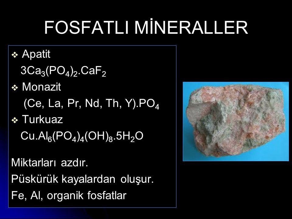 FOSFATLI MİNERALLER   Apatit 3Ca 3 (PO 4 ) 2.CaF 2   Monazit (Ce, La, Pr, Nd, Th, Y).PO 4   Turkuaz Cu.Al 6 (PO 4 ) 4 (OH) 8.5H 2 O Miktarları a