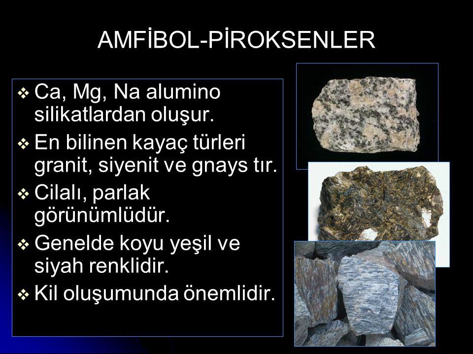 AMFİBOL-PİROKSENLER   Ca, Mg, Na alumino silikatlardan oluşur.   En bilinen kayaç türleri granit, siyenit ve gnays tır.   Cilalı, parlak görünüm