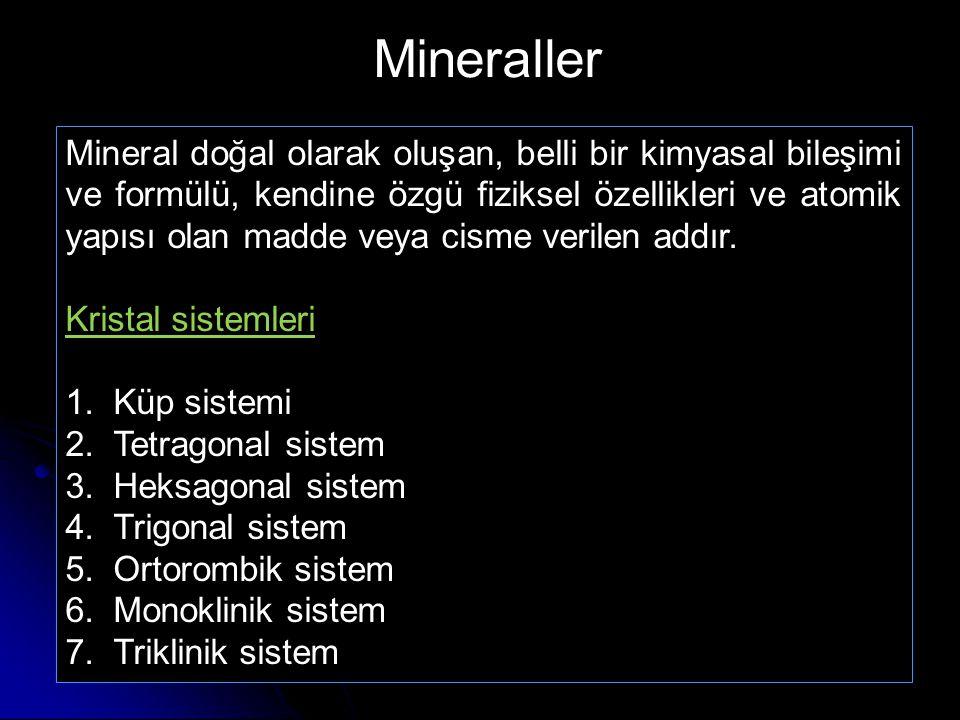 Mineral doğal olarak oluşan, belli bir kimyasal bileşimi ve formülü, kendine özgü fiziksel özellikleri ve atomik yapısı olan madde veya cisme verilen