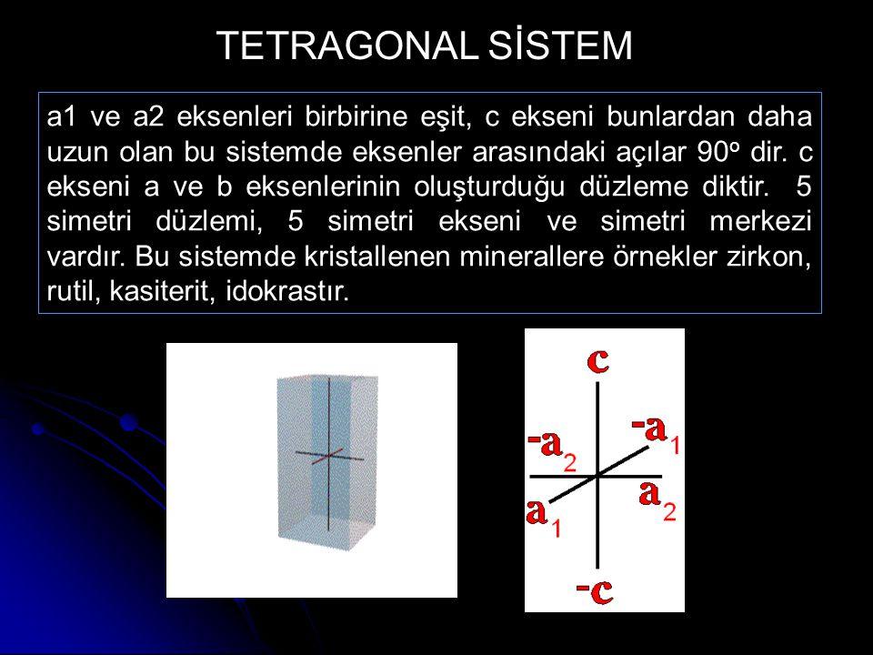 a1 ve a2 eksenleri birbirine eşit, c ekseni bunlardan daha uzun olan bu sistemde eksenler arasındaki açılar 90 o dir. c ekseni a ve b eksenlerinin olu