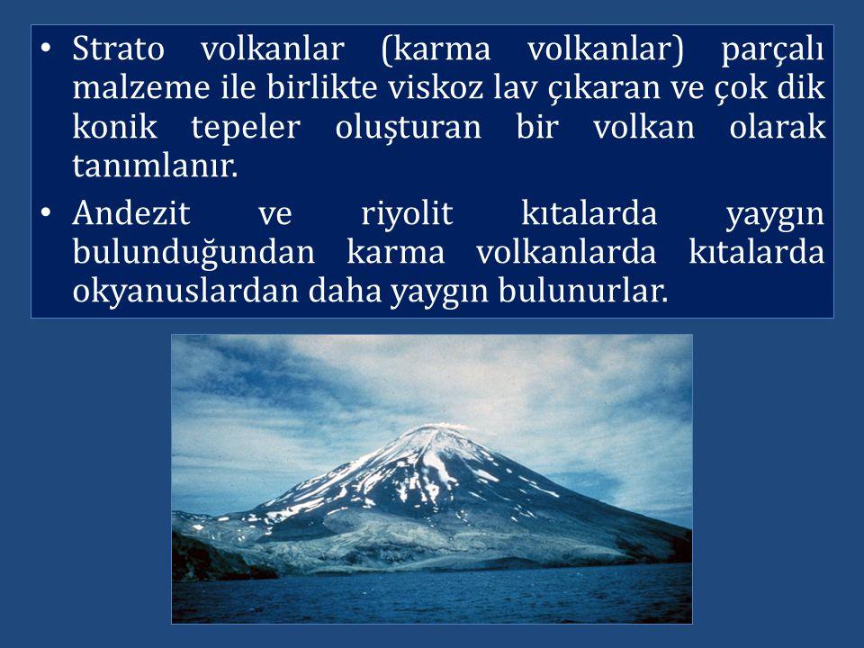 Strato volkanlar (karma volkanlar) parçalı malzeme ile birlikte viskoz lav çıkaran ve çok dik konik tepeler oluşturan bir volkan olarak tanımlanır. An
