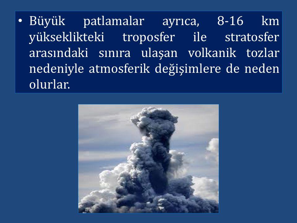 Büyük patlamalar ayrıca, 8-16 km yükseklikteki troposfer ile stratosfer arasındaki sınıra ulaşan volkanik tozlar nedeniyle atmosferik değişimlere de n