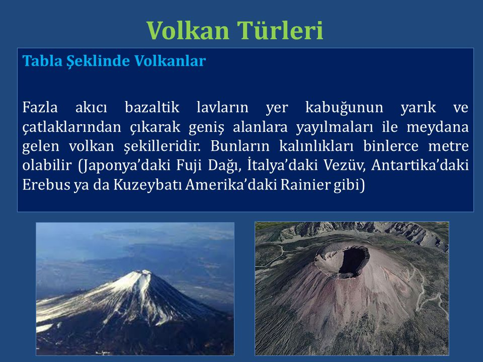 Tabla Şeklinde Volkanlar Fazla akıcı bazaltik lavların yer kabuğunun yarık ve çatlaklarından çıkarak geniş alanlara yayılmaları ile meydana gelen volk
