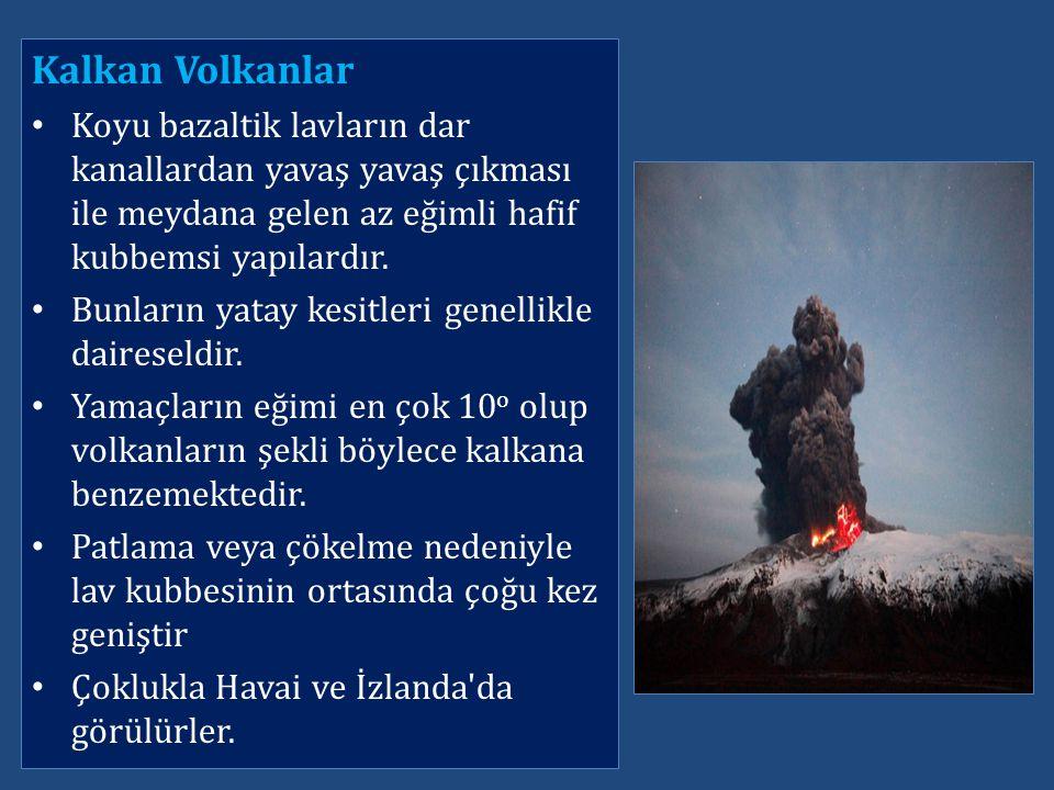Kalkan Volkanlar Koyu bazaltik lavların dar kanallardan yavaş yavaş çıkması ile meydana gelen az eğimli hafif kubbemsi yapılardır. Bunların yatay kesi