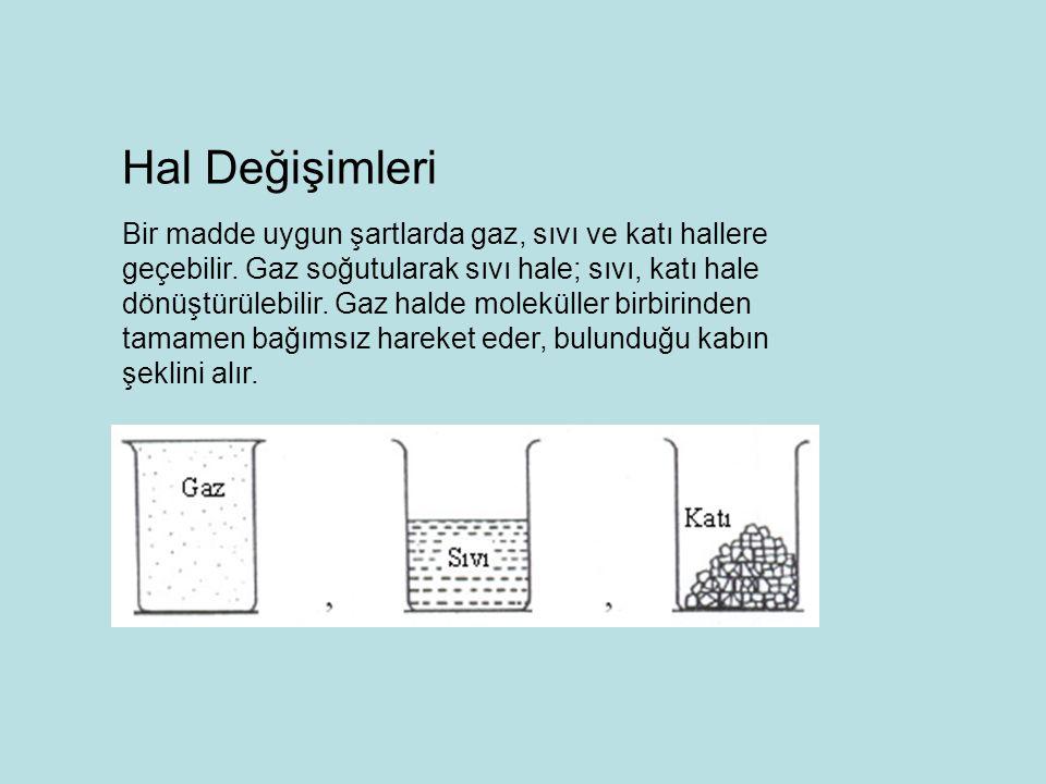 Bir madde uygun şartlarda gaz, sıvı ve katı hallere geçebilir. Gaz soğutularak sıvı hale; sıvı, katı hale dönüştürülebilir. Gaz halde moleküller birbi