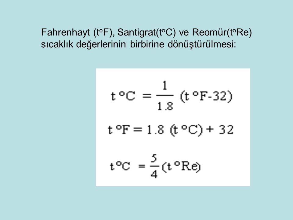 Fahrenhayt (t o F), Santigrat(t o C) ve Reomür(t o Re) sıcaklık değerlerinin birbirine dönüştürülmesi:
