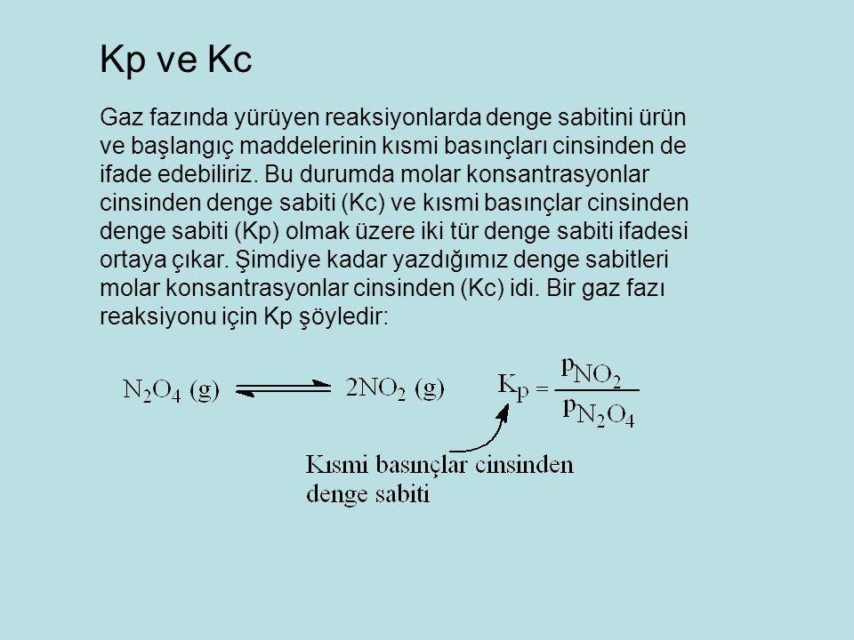 Gaz fazında yürüyen reaksiyonlarda denge sabitini ürün ve başlangıç maddelerinin kısmi basınçları cinsinden de ifade edebiliriz.