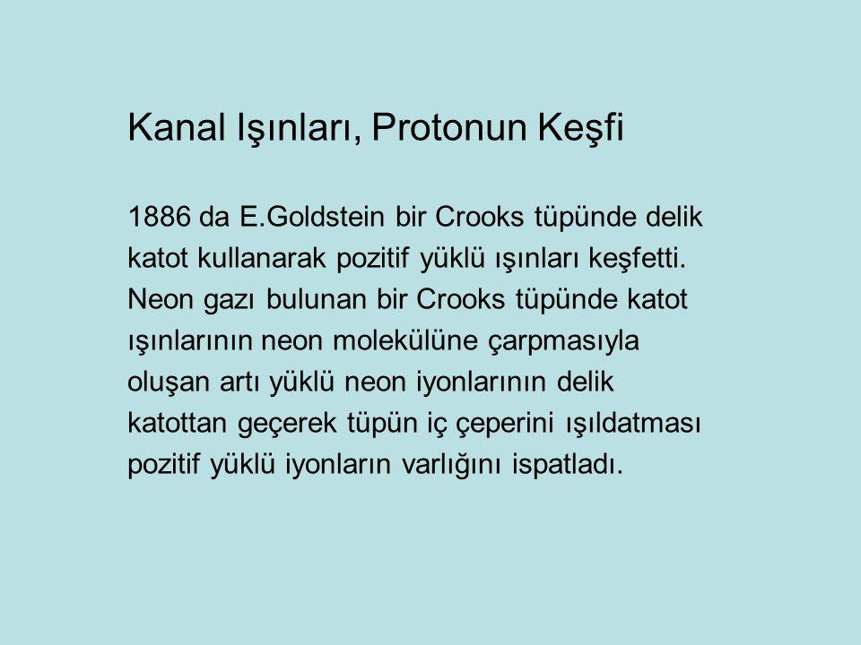 Kanal Işınları, Protonun Keşfi 1886 da E.Goldstein bir Crooks tüpünde delik katot kullanarak pozitif yüklü ışınları keşfetti.