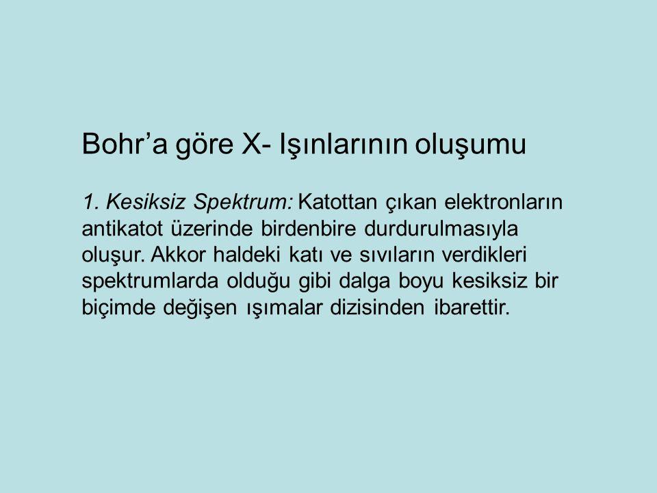 Bohr'a göre X- Işınlarının oluşumu 1.