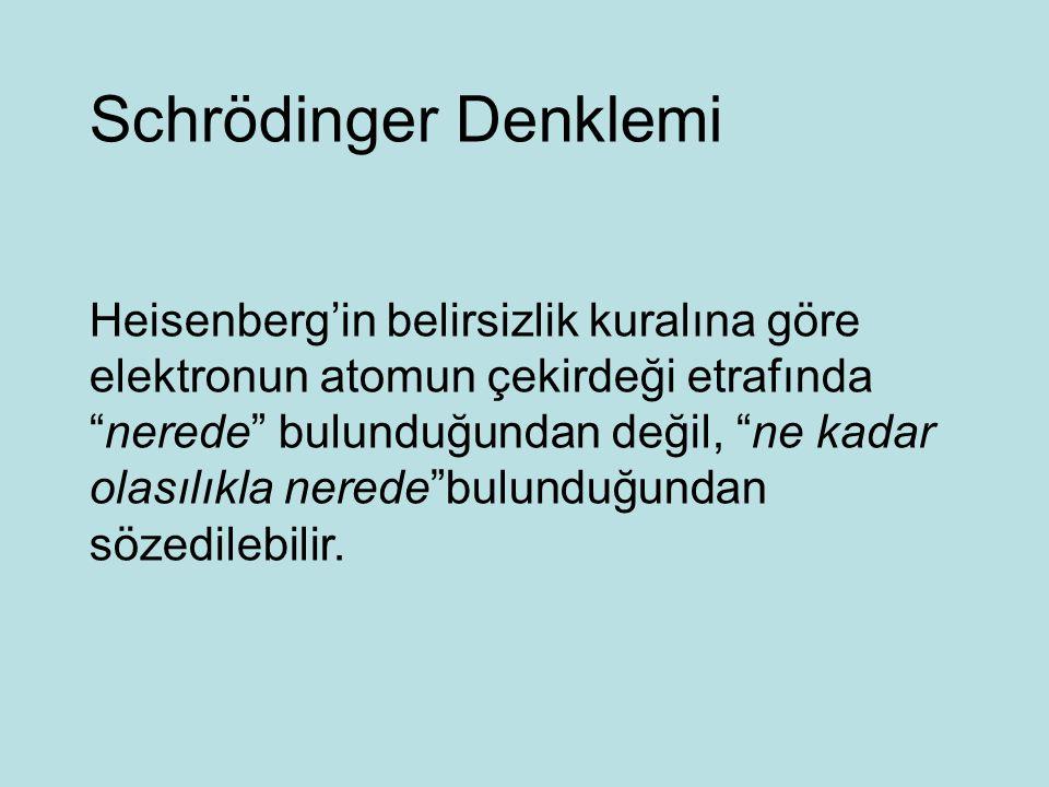 Schrödinger Denklemi Heisenberg'in belirsizlik kuralına göre elektronun atomun çekirdeği etrafında nerede bulunduğundan değil, ne kadar olasılıkla nerede bulunduğundan sözedilebilir.
